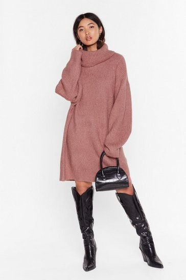 Womens Rose Knit Just Got Better Turtleneck Sweater Dress