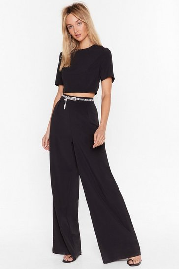 Black crop top and wide leg trouser coord set