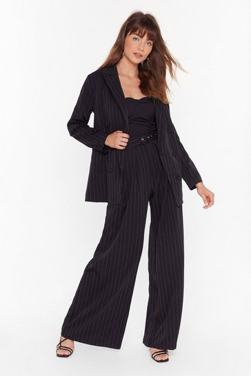 Black Business is Business Pinstripe Double Breasted Blazer
