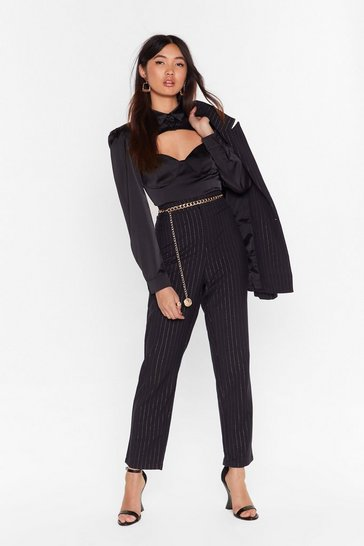 Womens Black Stripe to the Party High-Waisted Pants