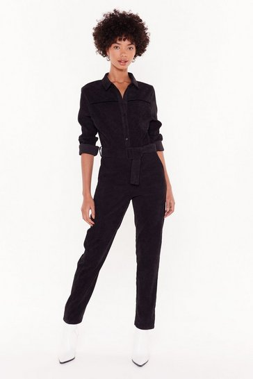 Womens Black Never Belt Better Corduroy Boilersuit