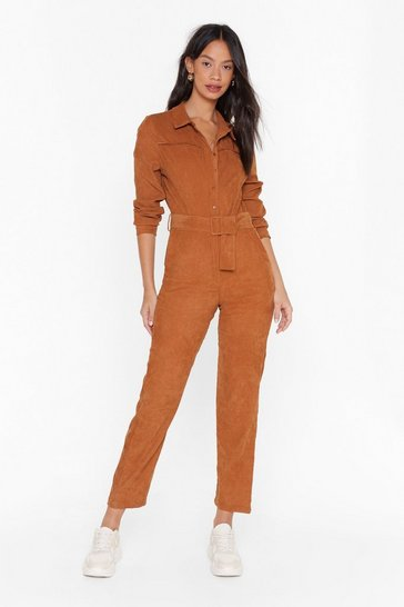 Womens Camel Never Belt Better Corduroy Boilersuit
