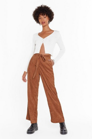 Camel For the Record-uroy High-Waisted Belted Pants