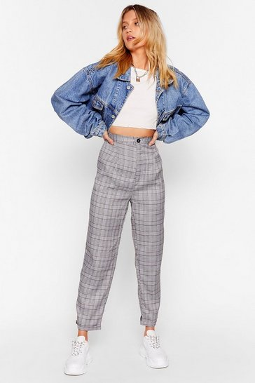 Womens Blue Checkin' Up on You High-Waisted Pants