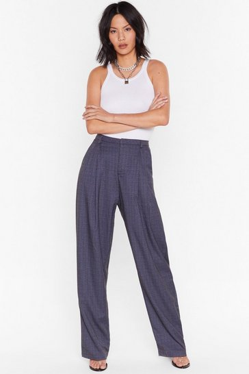 Womens Blue  Checked Out of the Situation High-Waisted Pants