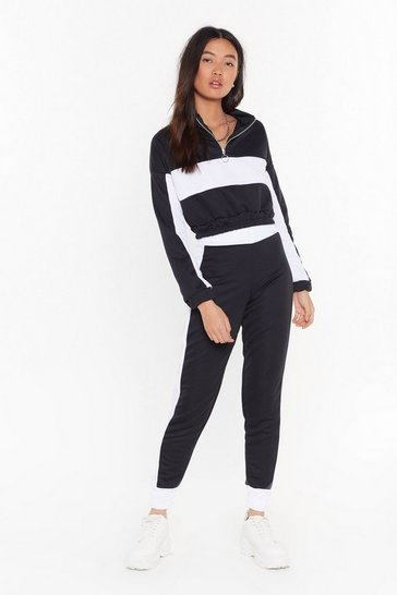 Womens Black Don't Sweat It Cropped Sweatshirt and Joggers Set