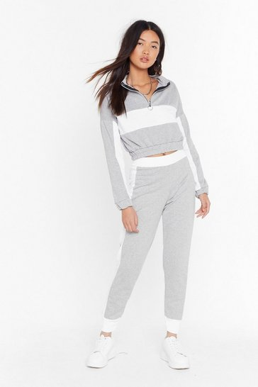 Grey Don't Sweat It Cropped Sweatshirt and Joggers Set