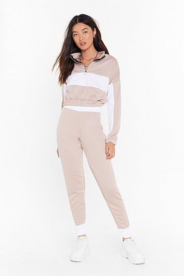 Womens Stone Don't Sweat It Cropped Sweatshirt and Joggers Set