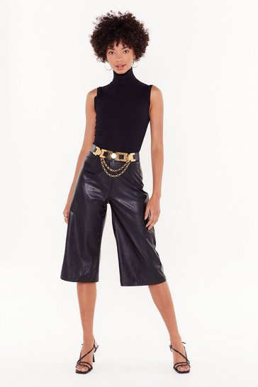 Womens Black Leather Underestimate Me Faux Leather Culottes