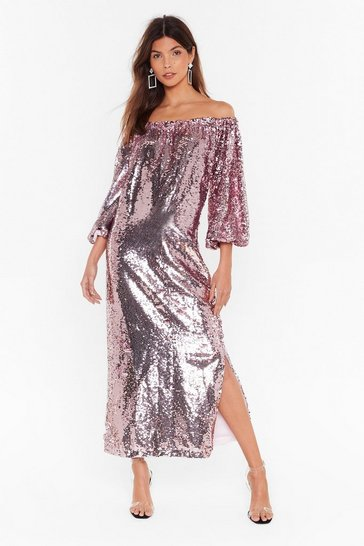 Pink Ready for a Dance Off-the-Shoulder Sequin Dress