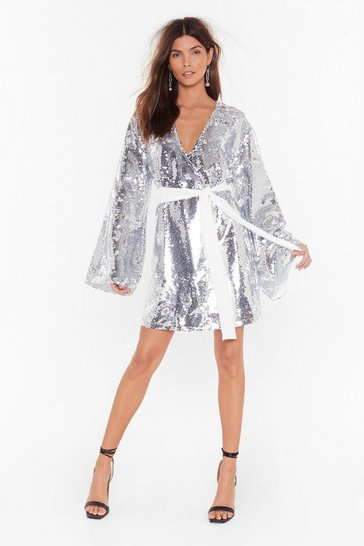 Womens Silver Disco's to Show Sequin Batwing Dress