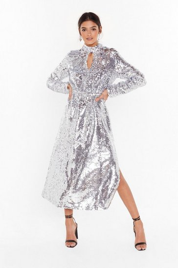 Womens Silver Head to Toe Icon Sequin Maxi Dress
