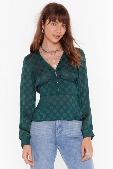 Womens Green As Long as I Dot You Satin V-Neck Blouse
