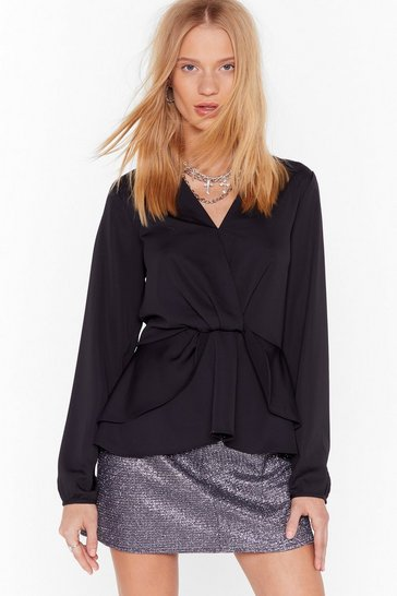 Womens Black Better Drape Than Never Satin Layered Blouse