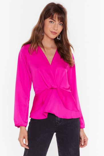 Fushia Better Drape Than Never Satin Layered Blouse
