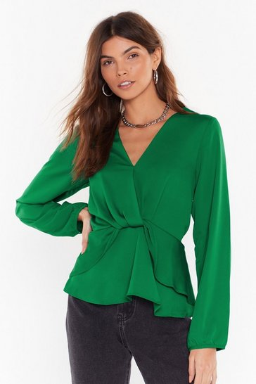 Womens Green Better Drape Than Never Satin Layered Blouse