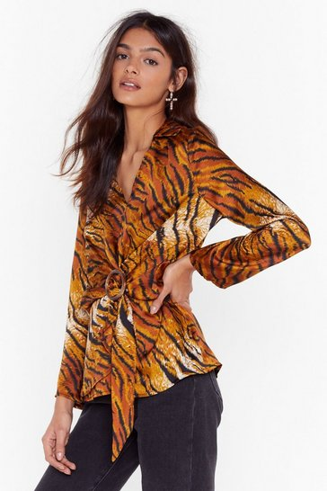 Brown Wild Hearts Satin Tiger Blouse