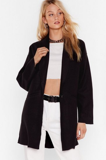 Womens Black Don't Sugarcoat It Oversized Coat