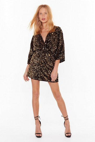 Womens Gold Show Your True Colors Sequin Mini Dress