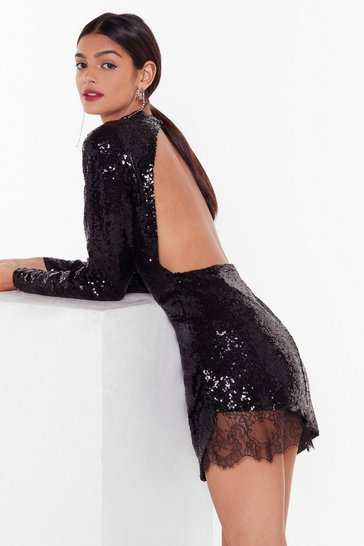 Black Nasty Gal Studio Shine the Light Embellished Mini Dress