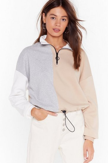 Grey Round Two Tone Zip Sweatshirt