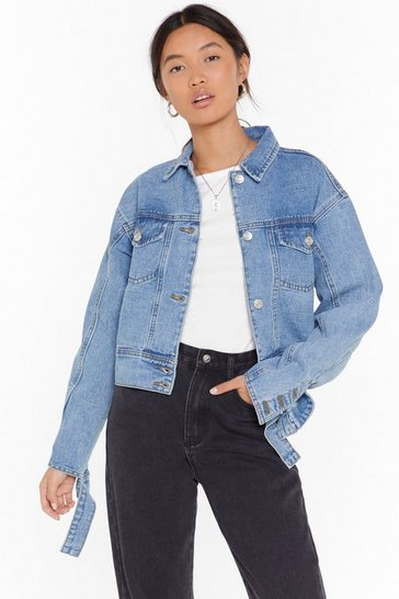 Womens Blue Wash You Go Cropped Denim Jacket