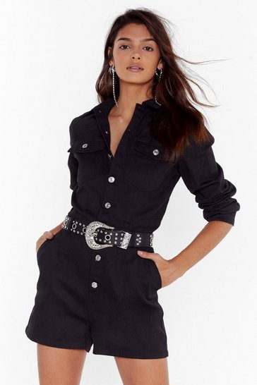 Womens Black Come Out and Play Button-Down Denim Romper
