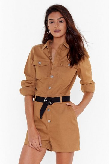 Camel Come Out and Play Button-Down Denim Romper