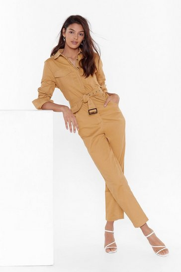 Womens Camel It All Boils Down to This Button-Down Boilersuit