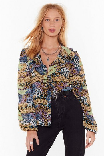 Womens Purple Takin' the Flower Back Floral Ruffle Blouse