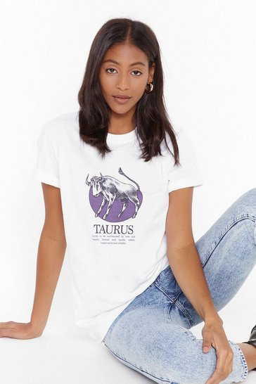 Womens White Tell Me Your Star Sign Taurus Graphic Tee