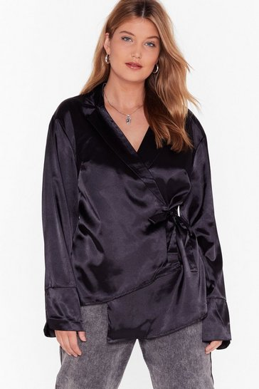 Womens Black Sleek the Truth Plus Satin Blouse