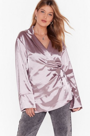 Blouse cache-cœur en satin On se la coule douce, Mink