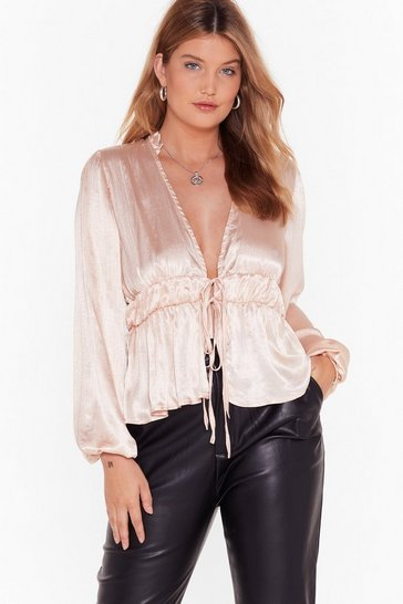Womens Nude Satin Sheets Plus Tie Blouse