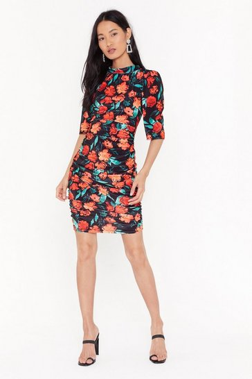 Blue Anything Bud the Truth Floral Velvet Mini Dress
