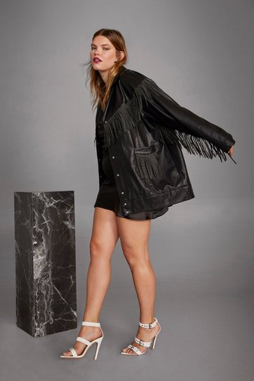 Womens Black Cara Delevingne Rebel Heart Faux Leather Plus Jacket