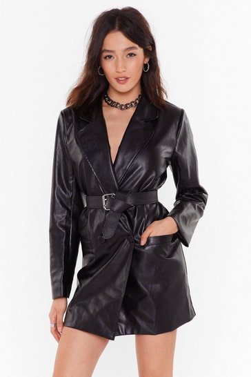 Womens Black Atomic Faux Leather Blazer Dress