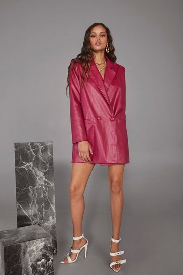 Womens Pink Atomic Faux Leather Blazer Dress