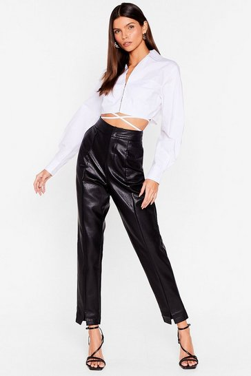 Womens Black Living For Love Faux Leather Pants