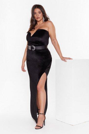 Black Total Eclipse of the Sweetheart Plus Velvet Dress