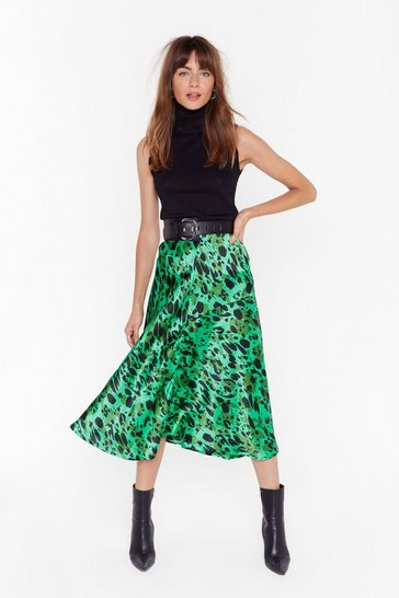 Womens Green Makin' Bold Moves Abstract Midi Skirt