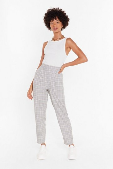 Womens Grey Good Grid-dance Tapered Check Pants