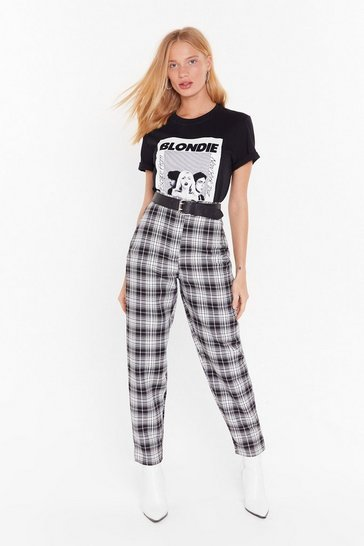 Womens Black One Check of a Night Tapered Pants