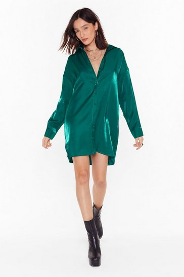 Teal Time to Shimmy Shimmy Oversized Shirt Dress