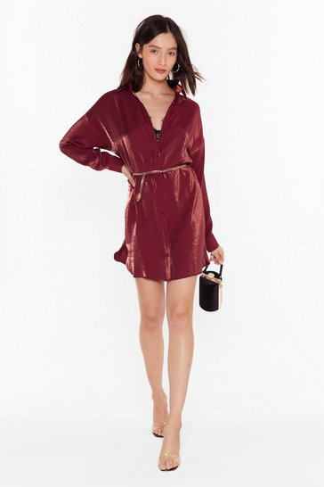 Womens Wine Time to Shimmy Shimmy Oversized Shirt Dress