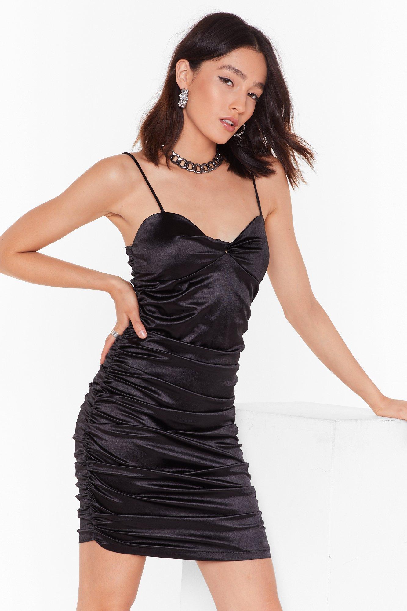 satin ruched side twist mini dress