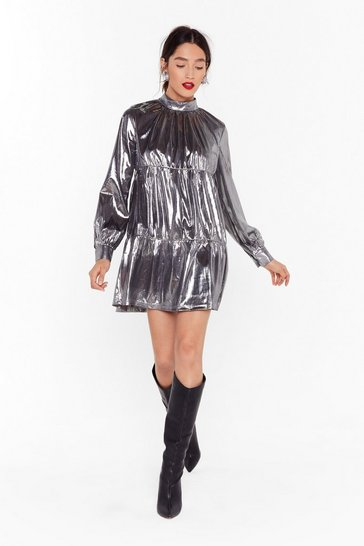 Silver Now is the Shine Metallic Smock Dress