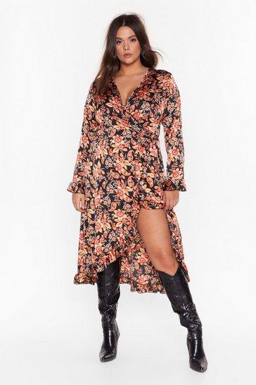 Black Paisley to Be Kind Plus Wrap Dress