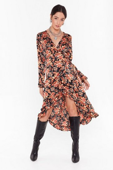 Black Paisley to Be Kind Satin Midi Dress
