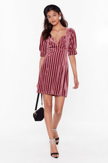 Womens Rose Stripe Glitter Velvet Plunge Mini Dress
